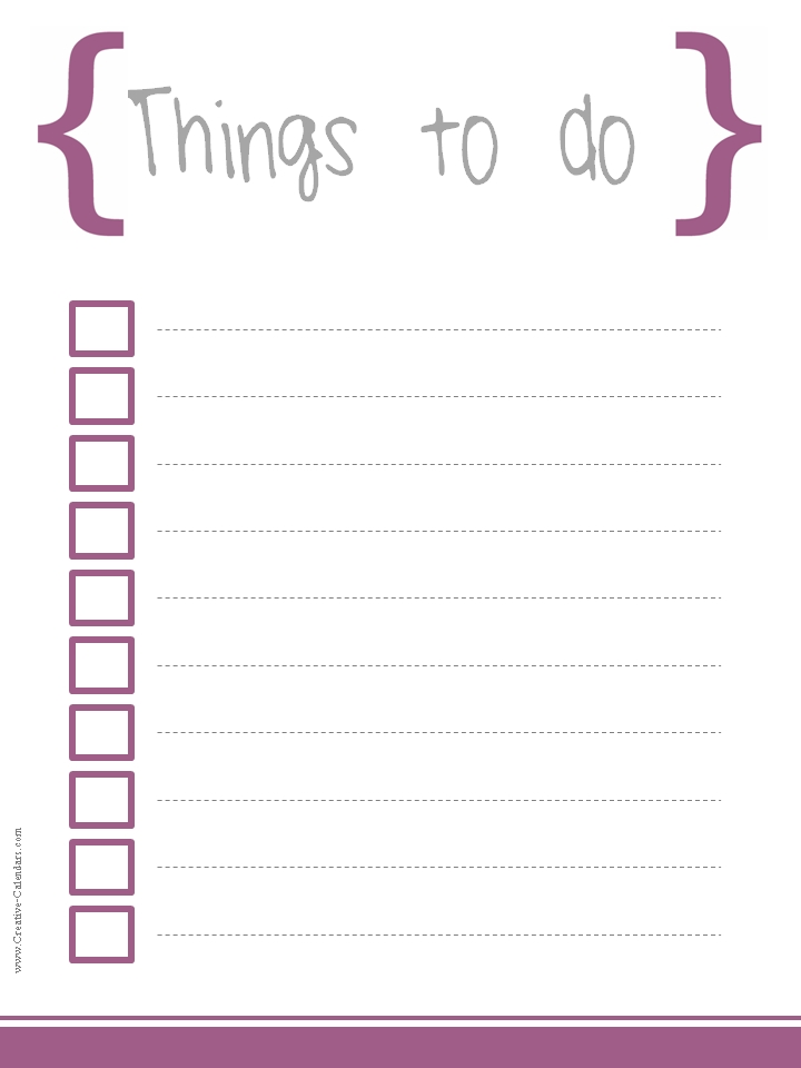 Word To Do List Templates  Printable To Do Lists